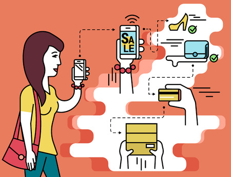 Infographic flat illustration of online shopping. Contour woman holds in her hand white smartphone with e-commerce mobile app and purchasing shoes and fashion bag.