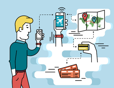 Infographic flat illustration of mobile app for booking air passage. Contour man holds in his hand white smartphone and going to order airplane boarding tickets