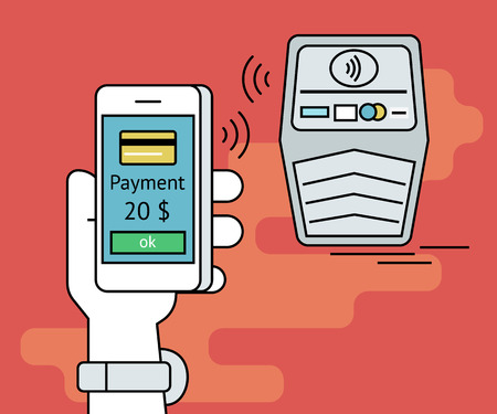 nfc: Illustration of mobile payment via smartphone. Human line contour hand holds a smartphone and doing payment by credit card via nfc function