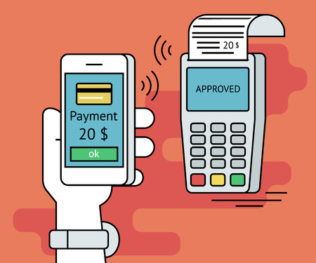 mobile banking: Illustration of mobile payment via smartphone. Human line contour hand holds a smartphone and doing payment by credit card wireless connecting to the payment terminal Illustration