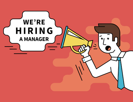 hiring: Flat line contour illustration of male employer shouting into a megaphone announcements about hiring a professional manager. Template bubble with outlined text