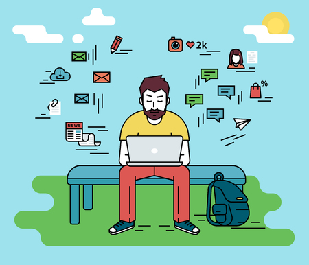freelancer: Hipster man wearing beard is sitting with laptop outdoors. Flat line illustration of guy writing a comment in social networks and social media signs such as email, chat bubbles, blog, news around him
