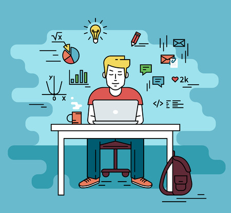 front desk: Man is working with laptop. Flat line contour illustration of student studying process sitting at home. Young man with social media and education infographics symbols such as chart, diagram, graph