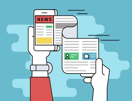 Noticias de lectura en línea. Línea plana contorno ilustración concepto de lectura de noticias en línea con aplicación de teléfono inteligente. La mano del hombre sostiene teléfono inteligente y la lectura de prensa diaria