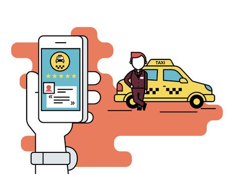 Flache Linie Kontur Illustration Konzept Prozess der Taxi über mobile App buchen. Menschliche Hand hält ein Smartphone mit Taxi-App und einen Kommentar lesen und den Taxifahrer bewerten. Gelbes Auto und Fahrer hinter Standard-Bild - 48268158