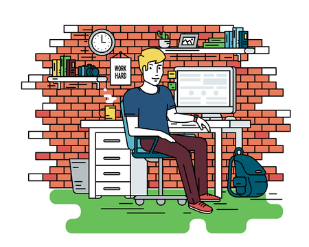 line work: Flat line contour illustration of student or designer sitting at his workplace. Room contains red brick wall, bookshelfs, work desk with pc, computer bag and green carpet. Isolated background