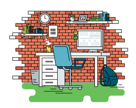 computer chair: Flat line contour illustration of student workplace organization. Empty room interior with red brick wall, bookshelfs, work desk with computer, chair , school bag and green carpet. Isolated background Illustration
