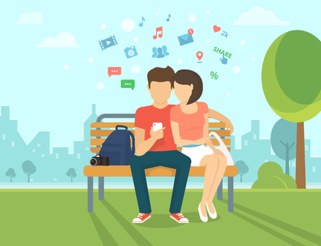 texting: Young man sitting in the street with his girlfriend and holding a smartphone. Flat modern illustration of social networking and texting to friends