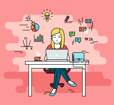 Woman is working with laptop. Flat line contour illustration of student studying process sitting at home. Young woman with social media and education infographics symbols such as chart, diagram, graph  イラスト・ベクター素材