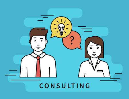 Consulting business. Flat line contour illustration of business woman and male consultant with question and idea speech bubbles Çizim
