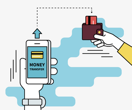 Man is sending money from credit card to his friend via mobile phone. Flat line contour illustration of money transferring via smartphone app Vectores