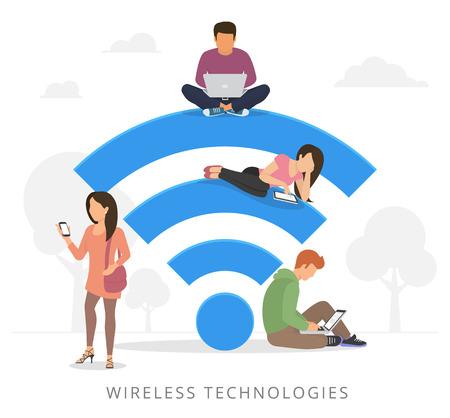 Junger Mann auf dem WiFi-blauen Schild sitzen und mit Laptop Standard-Bild - 48576494