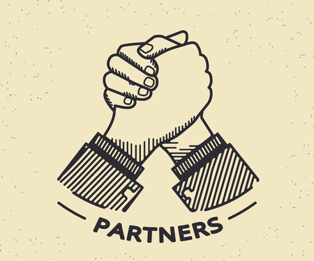 shakes: Two business partners agreed a deal and doing handshaking. Vintage illustration on beige background Illustration