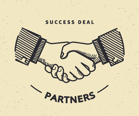 trade union: Two business partners agreed a deal and doing handshaking. Vintage illustration on beige background Illustration