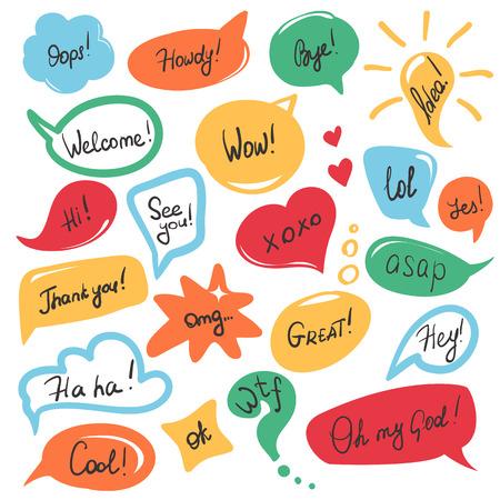 burbuja: dibujados a mano burbujas de intervención y etiquetas escritas a mano con mensajes cortos y frases amistosas aislados en blanco