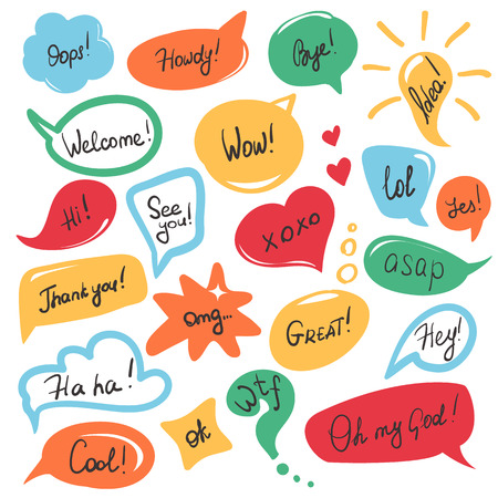 message bubble: Hand drawn speech bubbles and stickers set with handwritten short messages and friendly phrases isolated on white