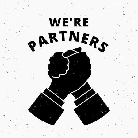 私たちは、パートナーをしています。2 つのビジネス パートナー契約とハンド シェークを行うことで合意しました。 グランジ テクスチャ ホワイト   イラスト・ベクター素材