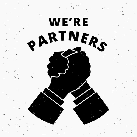business partners: Were partners. Two business partners agreed a deal and doing handshaking.  Grunge textured illustration on white background