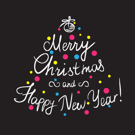 inscription: Merry Christmas and happy new year handmade lettering inscription with swirls and xmas tree decoration and ornaments Illustration