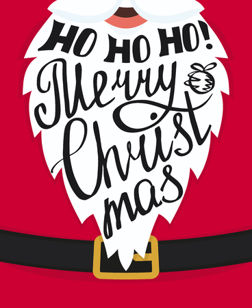 christmas poster: Ho ho ho Merry Christmas handmade lettering on the Santa Claus white beard. Xmas greeting card template design. Handwritten inscription with swirls and ornaments
