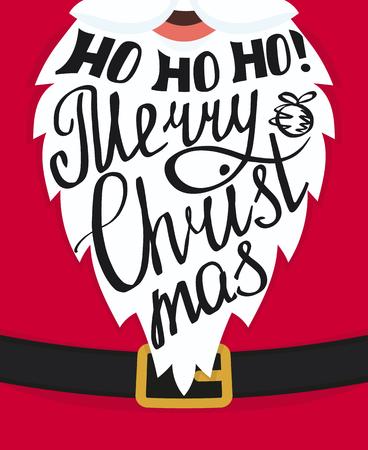 Ho ho ho Vrolijke Kerstmis handgemaakte letters op de kerstman witte baard. Xmas wenskaartsjabloon design. Handgeschreven inscriptie met wervelingen en ornamenten