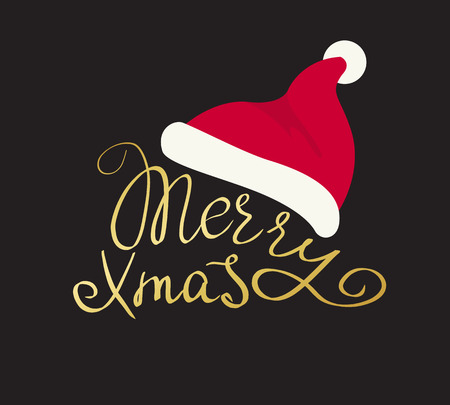 christmas card: Merry Christmas golden handmade lettering inscription with swirls Santa red hat isolated on black background. Design for xmas greeting card