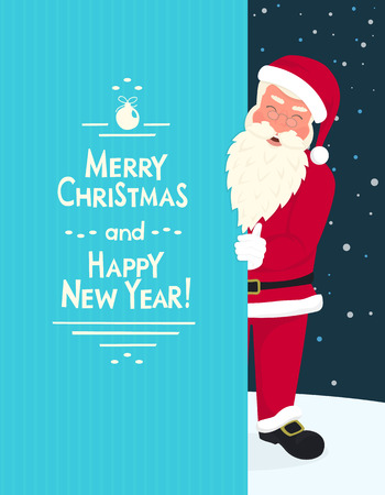 merry chrismas: Smiling Santa Claus wearing red hat and glasses holds a banner with merry chrismas and happy new year text. Greeting card or flyer template design with copy space Illustration
