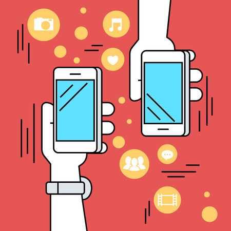 business connection: Flat line contour illustration of people sharing data and mobile apps via smartphone with nfc function. Illustration on red background