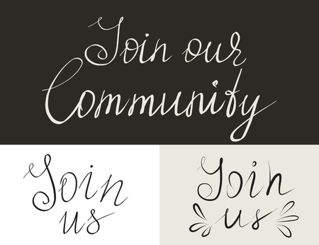 join: Set of join us and our community handmade thin lettering inscriptions for invitation. Design elements isolated on white background. Hand written letters for social networks membership, ad and banners