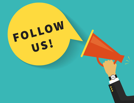 Follow us banner for social networks. Flat illustration of human hand holds red megaphone with yellow speech bubble. Template design