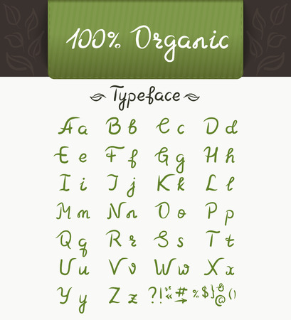 organic: 100 organic typeface. Brush script lettering font, handwritten calligraphic alphabet with sample text on the green banner
