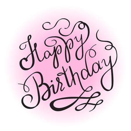 Happy birthday handgeschreven letters design element voor de uitnodiging of wenskaart. Vrouwelijk editie voor meisje geboorte vieren. Handgemaakte kalligrafie met krul en ornamenten op roze kleur