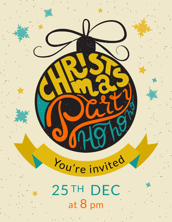 ho: Christmas party ho ho ho invitation template. Retro illustration of xmas ball with vintage wrapped handwritten text, snowflakes and stars elements. Decorated a golden ribbon with text you are invited