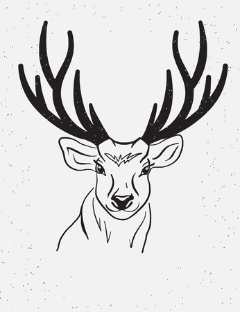 vintage poster: Deer head with black horns isolated on white background. Hand made poster template in vintage style graphics element for t-shirt, poster or prints Illustration