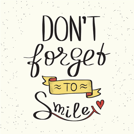 white smile: Do not forget to smile handwritten design element with yellow ribbon for motivation and inspirational poster, social networks and ad banners. Handdrawn lettering quote isolated on white background