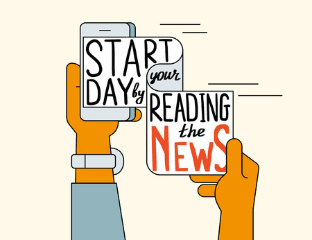 reading app: Start your day by reading the news. Flat line contour illustration concept of online reading news using smartphone app. Human hand holds smartphone with wrapped handwritten text Illustration