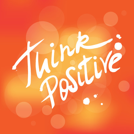 Think positive handwritten design element for motivation and inspirational poster, t-shirt and banners. Hand drawn lettering quote isolated on orange unfocused background Vettoriali