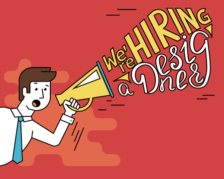 hiring: Flat line contour illustration of male employer shouting into a megaphone announcements about hiring a professional designer. Megaphone with typhography design text Illustration