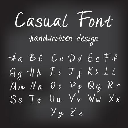 calligraphic: Casual font handwritten alphabet design on the blackboard. Handmade white lettering for signature or expressive brush calligraphy