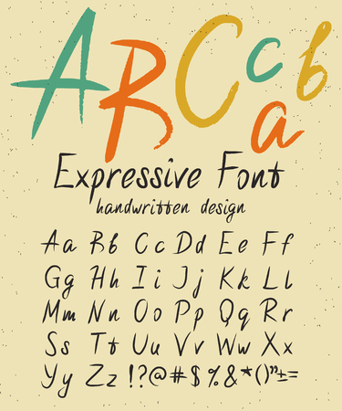 expressive: Expressive font handwritten alphabet design on the retro texured paper. Handmade white lettering for signature or expressive brush calligraphy