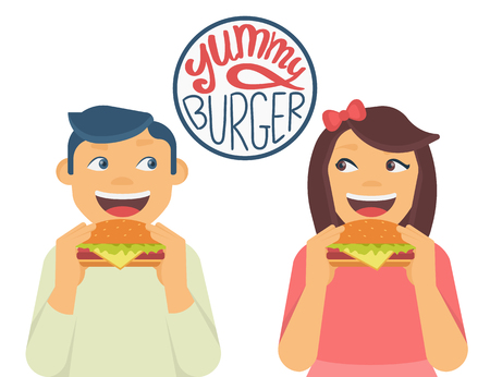 white yummy: Happy boy and girl looking to each other and eating a big hamburgers. Isolated on white with handwritten letters of  yummy burger text