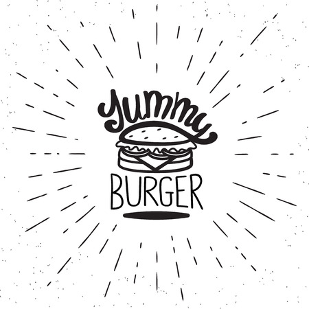 yummy: Yummy burger vintage label in hipster style with sunburst. Hand drawn lettering quote on white background  for restaurants and fast food cafe posters and banners