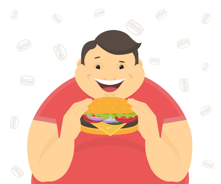 Happy fat man eating a big hamburger. Flat concept illustration of bad habits isolated on white background with contour burger symbols Vettoriali