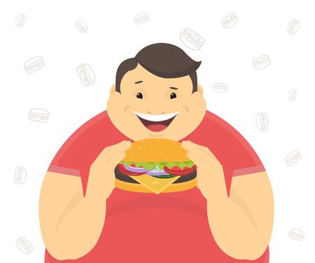 uomo felice: Felice l'uomo grasso mangia un grande hamburger. Piatto illustrazione del concetto di cattive abitudini isolato su sfondo bianco con i simboli di contorno hamburger Vettoriali