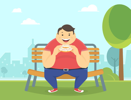 gluttonous: Happy fat man eating a big sweet donut sitting in the park on the bench. Flat concept illustration of bad habits