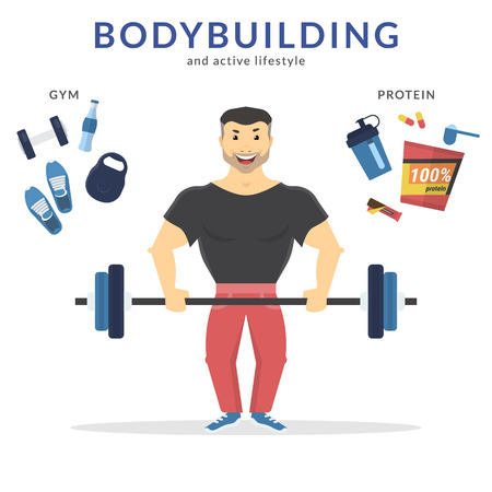 handsome guy: Happy bodybuilder holding barbell in his hands and doing exercise. Flat concept illustration of active lifestyle with symbols such as protein nutrition and gym icons isolated on white