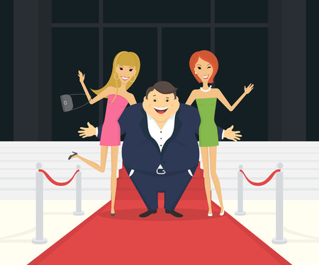 renown: Fat famous man with his thin girlfriends on the red carpet as celebrities. Flat conceptual illustration of superstar and celebrity persons going to the luxury event