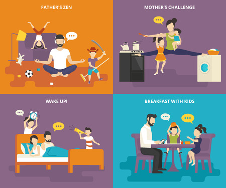 actividad: Familia con iconos planos niños Concepto conjunto de padres zen, madre con hijos entre la estufa y lavadora, despierta con los niños y el desayuno divertido
