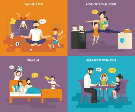 Gezin met kinderen mensen begrip vlakke pictogrammen set van vaders zen, moeder met kinderen tussen het fornuis en wasmachine, wakker worden met kinderen en leuk ontbijt