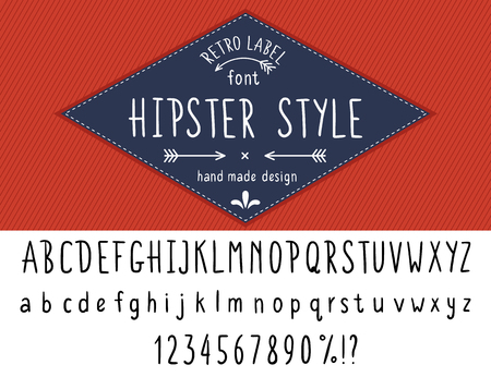 stripped background: Hipster style font hand made slim line design. Latin black typeface uppercase and nubers isolated on white with blue retro label on red stripped background